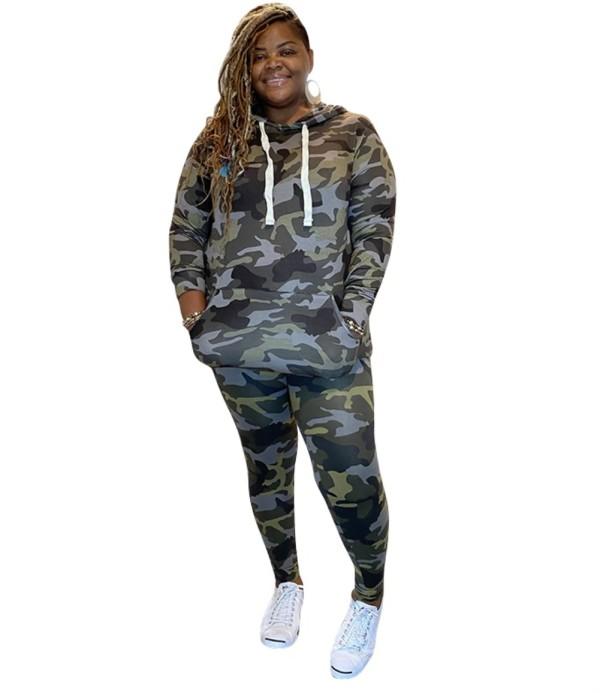 Plus Size Herbst Camou Print Hoodie Sweatsuit