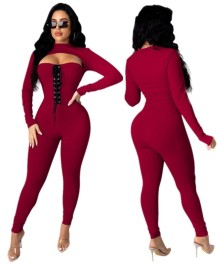 Autumn Party Sexy Lace Up Cut Out Bodycon Jumpsuit