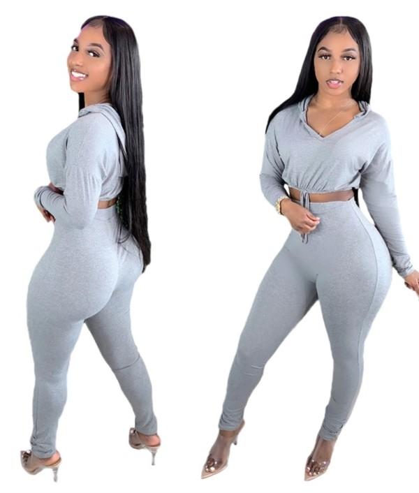 Herbst Solid Plain Tight Hoodie Crop Top und High Waist Pants Set