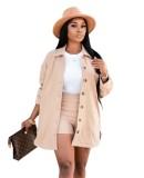 Conjunto de blusa y pantalones cortos lisos lisos casuales de otoño