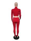Autumn Solid Plain Tight Zipper Kurze Jacke und Hose Set
