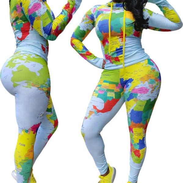 Herbst Sexy Map Print Enges Hemd und Hosen Set