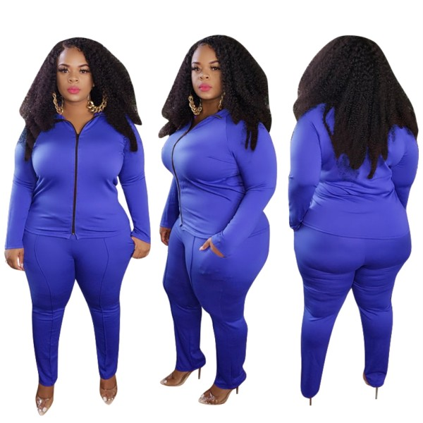 Plus Size Herbst Solid Plain Blue Tight Reißverschluss Jacke und Hose Set