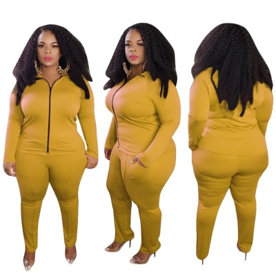 Plus Size Autumn Solid Plain Tight Zipper Jacket and Pants Set