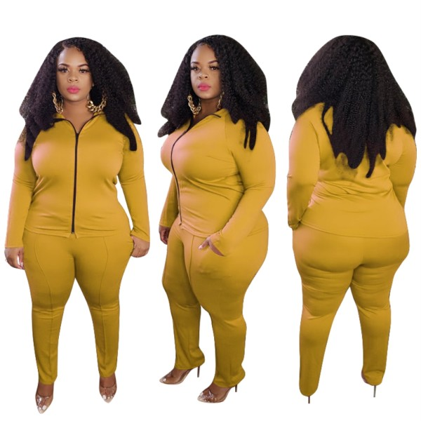 Plus Size Herbst Solid Plain Yellow Tight Reißverschluss Jacke und Hose Set