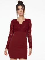 Herbst Elegant Spitze Oberer V-Ausschnitt Mini Club Kleid