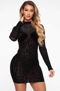 Otoño negro leopardo sexy ver a través del mini vestido del club