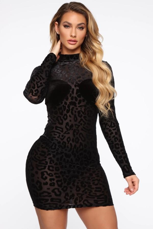 Automne noir léopard sexy voir à travers mini robe club