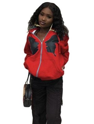 Autumn African Print Zip Up Hoodie Jacket