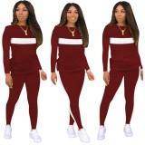 Herbstliche Kontrastfarbe Casual Shirt und Hosen Set
