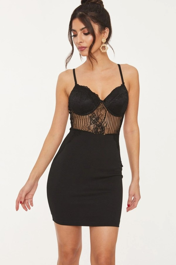 Summer Black Lace Obere Träger Mini Club Kleid