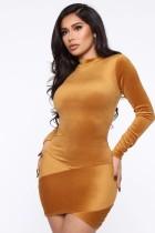 Autumn Velvet Long Sleeve Bodycon Club Dress