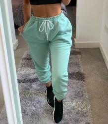 Pantalon de survêtement uni style urbain avec cordons de serrage d'automne