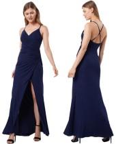 Летнее королевское синее вечернее платье с запахом на бретелях