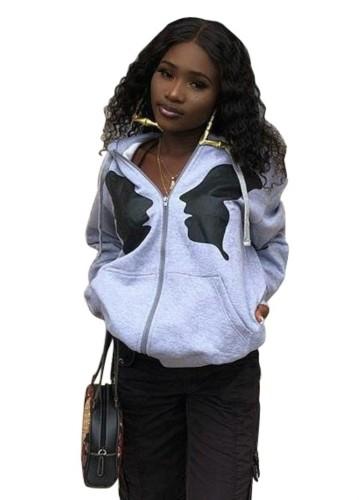 Jaqueta com capuz com estampa africana de outono