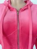 Winter Velvet Plain Zip Up Hoodie Trainingsanzug