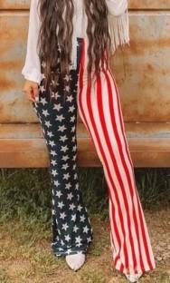 Pantalon taille haute à imprimé étoiles et rayures d'automne