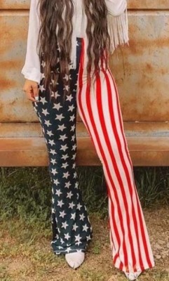 Autumn Stars and Stripes Print High Waist Trousers
