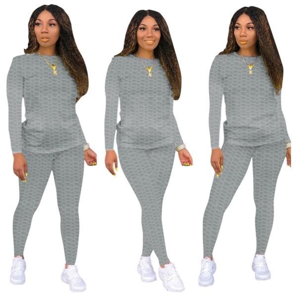 Herbst Solid Plain Casual Shirt und Hosen Set