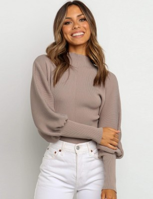 Winter Turtle Neck Ribbed Sweater with Bubble Sleeves
