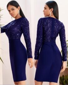 Herfstfeest Elegante pailletten Bovenste knielange jurk