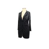 Robe blazer noire perlée d'automne à manches longues