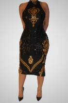Party Sexy Gold und Schwarz Pailletten Scoop Neck Midi Kleid