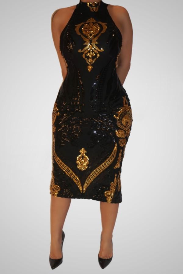 Robe mi-longue sexy à paillettes dorées et noires à encolure dégagée