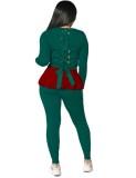 Herbst lässig Schnür Kontrast Kontrast Schößchen Hemd und Hose Set