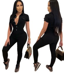 Autumn Black Button Up Tight Denim Jumpsuit with Short Sleeves
