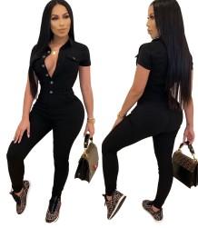 Autumn Black Button Up Enger Jeansoverall mit kurzen Ärmeln