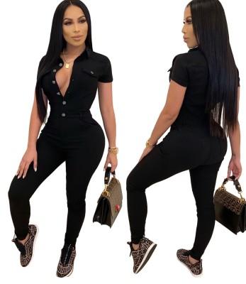 Combinaison en jean moulante boutonnée noire à manches courtes d'automne