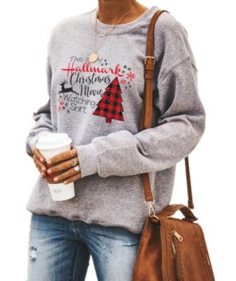 Chemise à col rond pour femme grise à imprimé de Noël