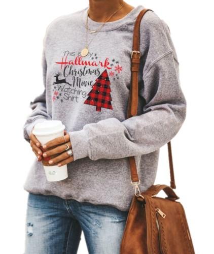 Noel Baskı Gri Kadın O-Boyun Gömlek