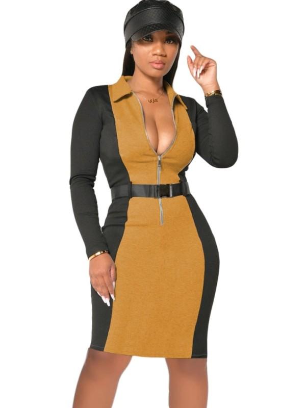 Herbst Casual Contrast Zipper Bodycon Kleid mit Gürtel