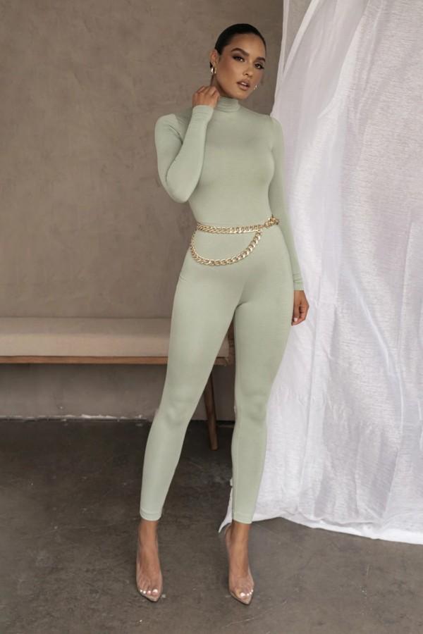 Herbst Party Sexy Sheer Rollkragen Bodycon Jumpsuit