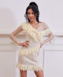 Robe mini club sexy en maille patchwork d'automne