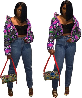 Winter Print Colorful Padded Jacket