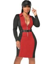 Autumn Casual Contrast Zipper Bodycon Dress with Belt
