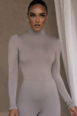 Autumn Party Sexy Sheer Turtleneck Bodycon Jumpsuit