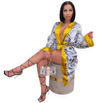 Africa Dollar Print Long Coat with Full Sleeves