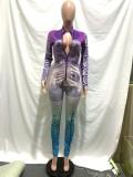 Herfstfeest met geldprint Sexy bodycon-jumpsuit met ritssluiting