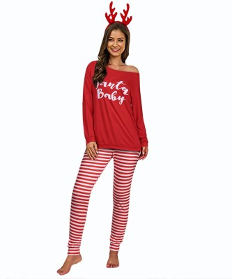 Pijama de dos piezas con estampado navideño para mujer