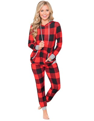 Christmas Women Print Hooded Two Piece Pajama