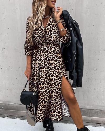 Autumn Elegant Leopard Print Slit Long Casual Dress