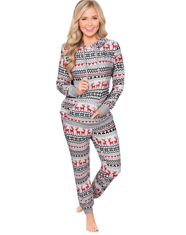 Weihnachten Frauen drucken Kapuze zweiteiligen Pyjama
