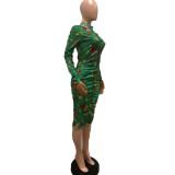 Weihnachtsdruck Zip Up Bodycon Midi Kleid