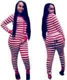 Weihnachten Frauen Streifen Button Up Onesie Pyjama