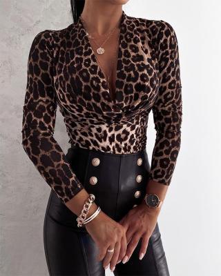 Autumn Elegant Leopard Print Dripped Sexy Basic Shirt