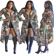 Abrigo largo con estampado de camuflaje africano de otoño
